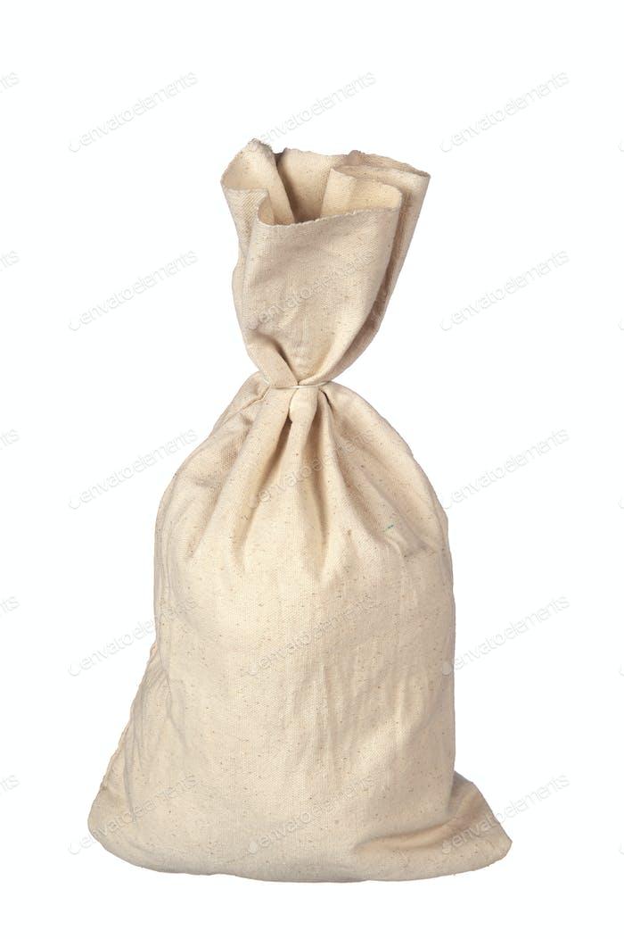 Burlap sack on white
