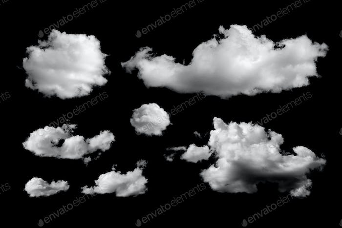 Set of different clouds isolated on black background
