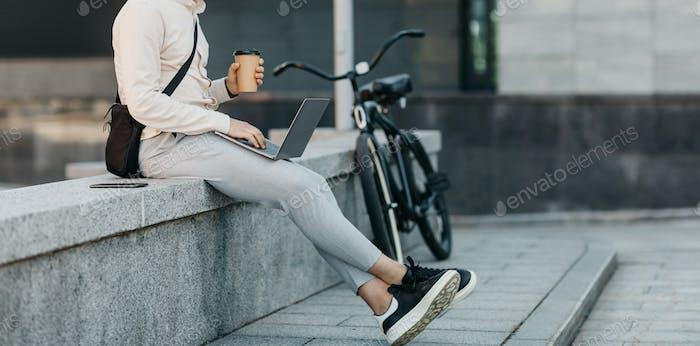 Break at work, freelance and remote work outdoor