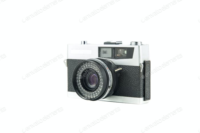 vintage film camera isolated in white background