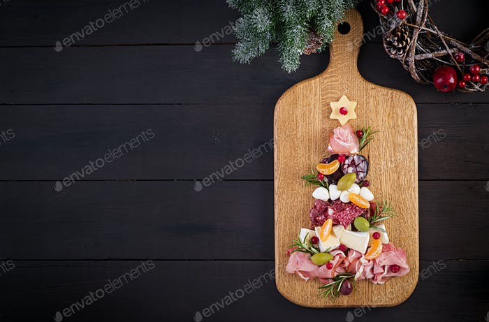 Antipasto platter with ham, prosciutto, salami, cheese and olives