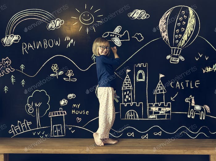 Little Girl Education Blackboard Concept