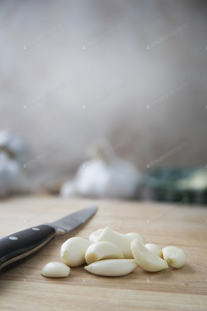 Cooking with Garlic Vertical Orientation