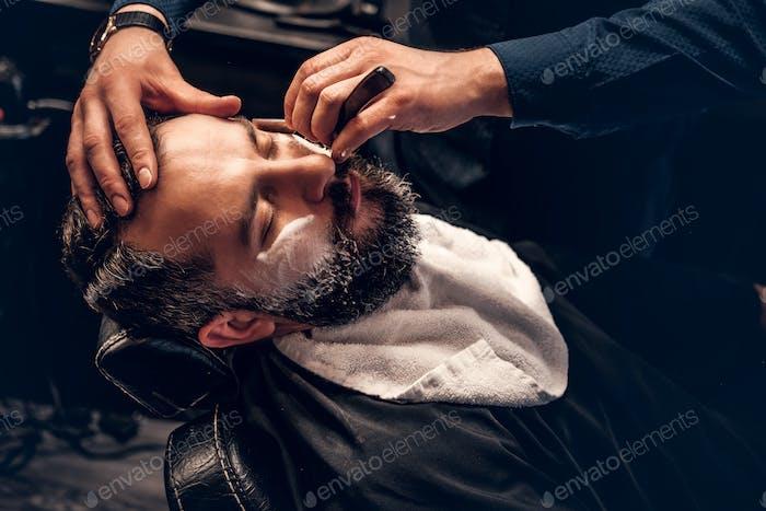 Close up image of barber