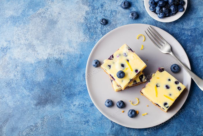 Blueberry Cake, Cheesecake on a Plate. Blue Background. Copy Space. Top View.