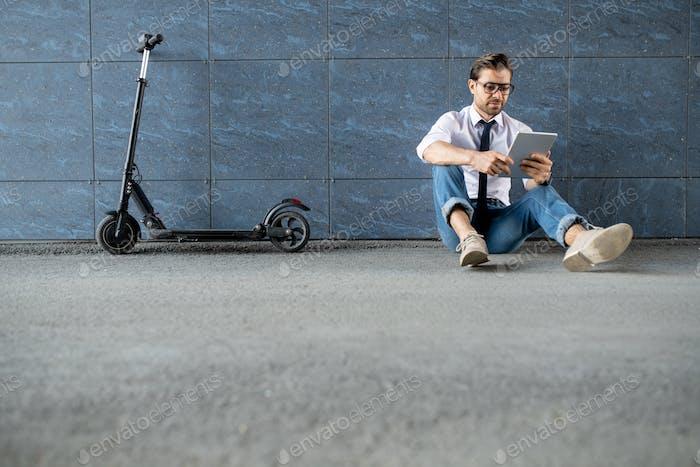 Guy with wireless gadget