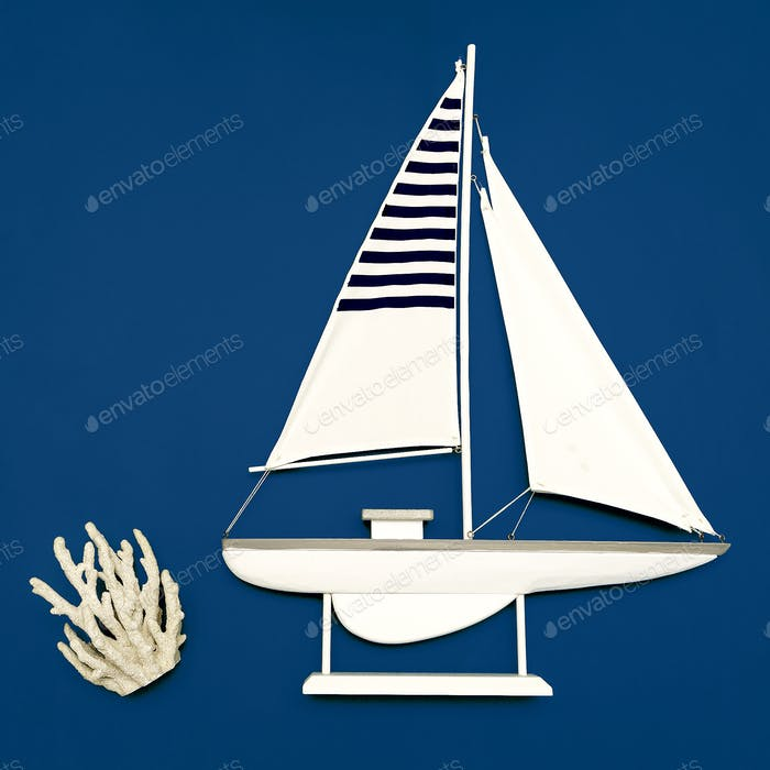 Yacht on the blue Sea Concept Minimal art