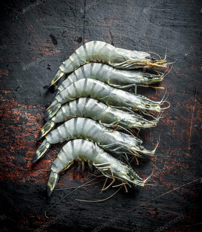 Raw shrimps uncooked.