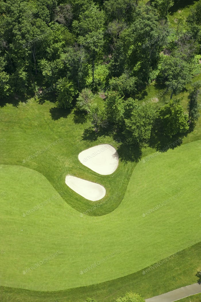 Aerial View of Golf Fairway with Sand Traps