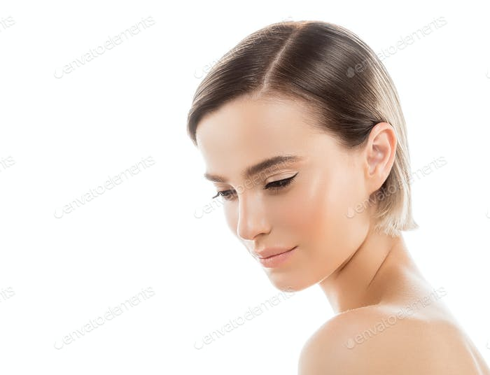 Short Hair Woman Face Portrait Cosmetic Concept Healthy Skin