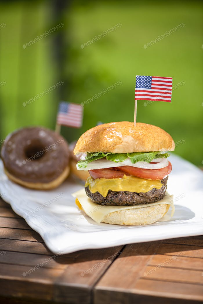 American beef burger and chocolate donuts for independence day