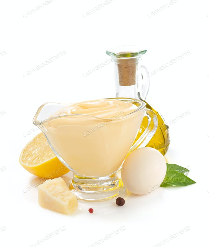 cheese mayonnaise sauce on white background