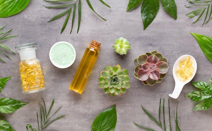 Spa wellnes greeting card. aromatherapy theme , handmade bio cosmetic.