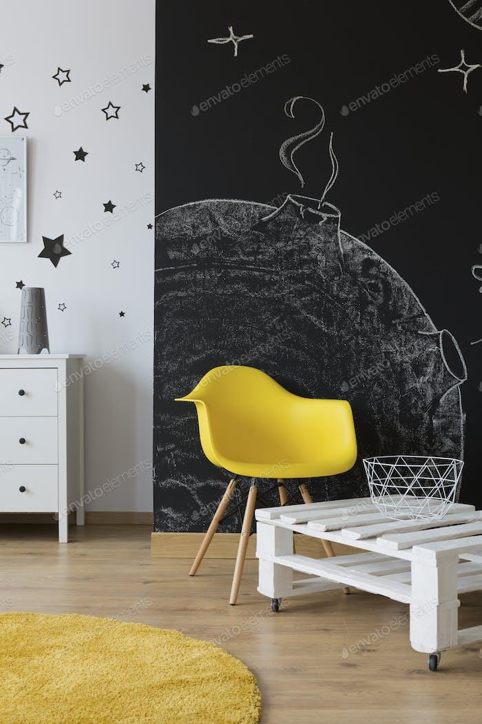 Room with chalkboard wall