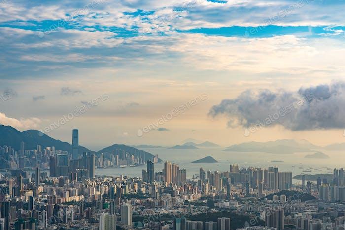 Hong Kong, China - August, 2019: Hong Kong city scape, modern building skyscraper in Hong Kong
