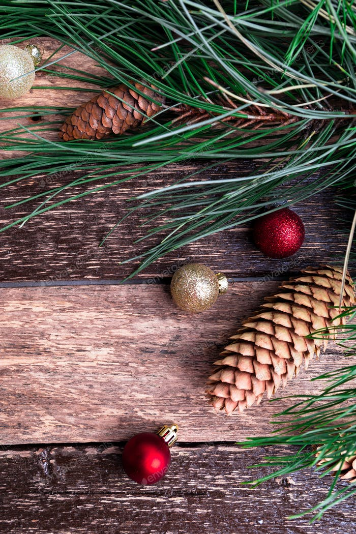 Merry Christmas New Year Composition Rustic Background. Flat Lay.