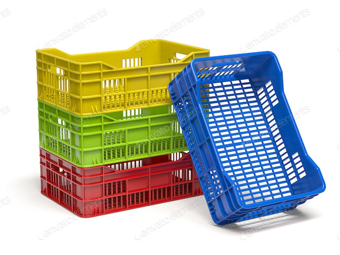 Stack of empty plastic crate or box for fruits and vegetables isolated on white.