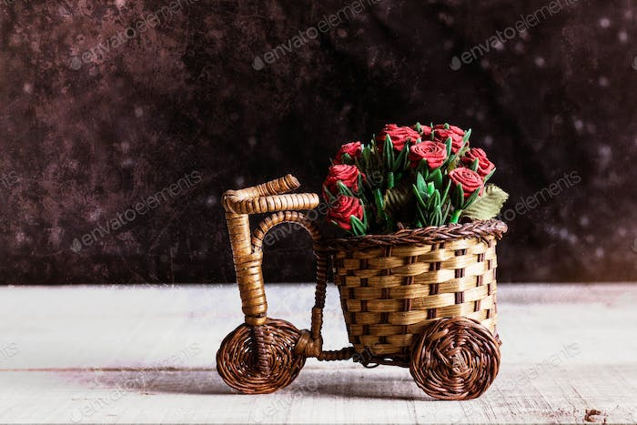 Potted roses on bike