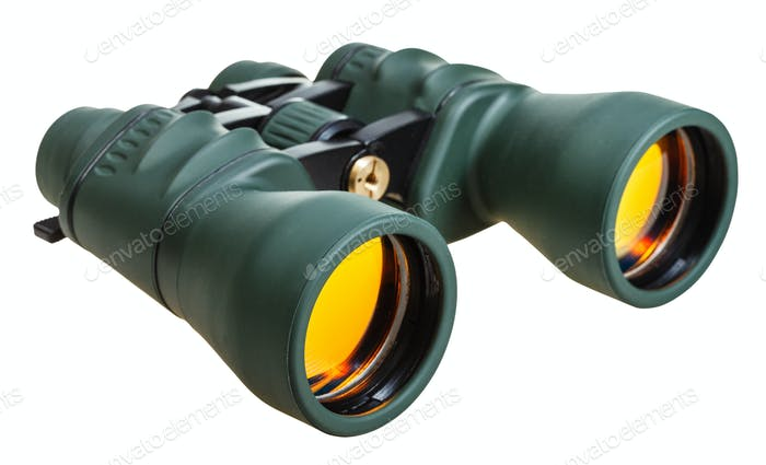 green field glasses with yellow lens isolated