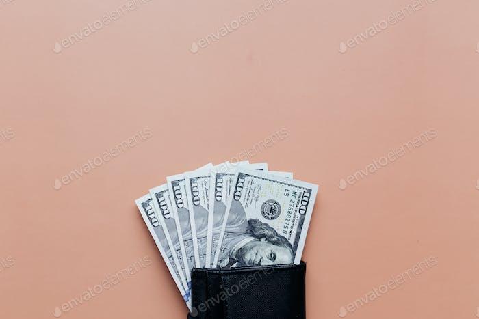 Bundle of dollars in purse on beige background