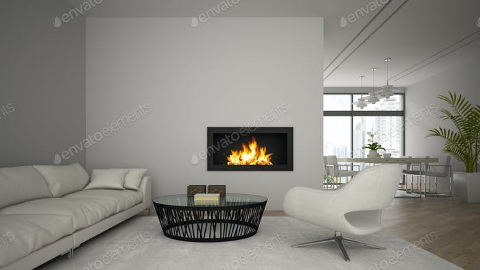 Interior of modern  loft with fireplace and white sofa 3D render
