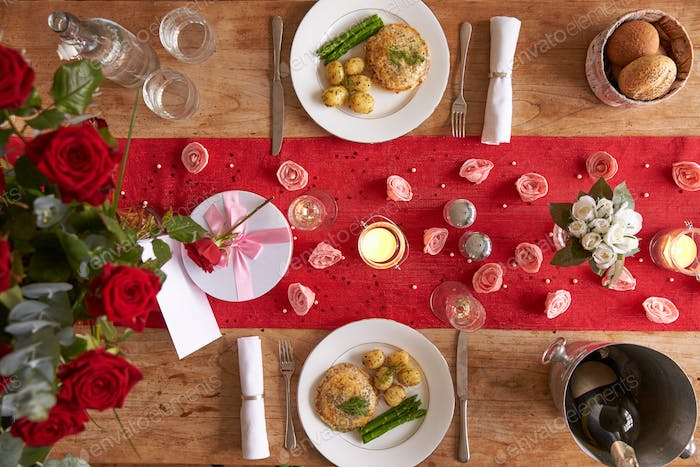 Table Setting For Romantic Valentines Day Meal