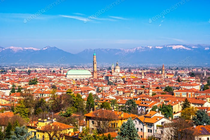 Panoramic view of Vicenza. Basilica Palladiana, and Alps mountai