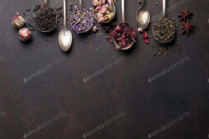 Various tea in spoons