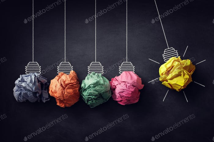 Newton's cradle crumpled paper bulb bright idea