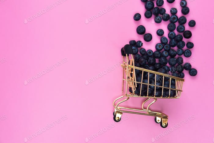 Blueberries in a grocery cart on a pink background. Scattered blueberries near a grocery cart on a
