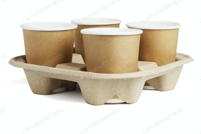 Coffee Cups in Disposable Paper Tray
