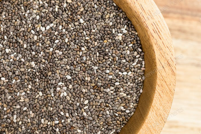 Chia Seeds Whole Food Superfood Wooden Bowl
