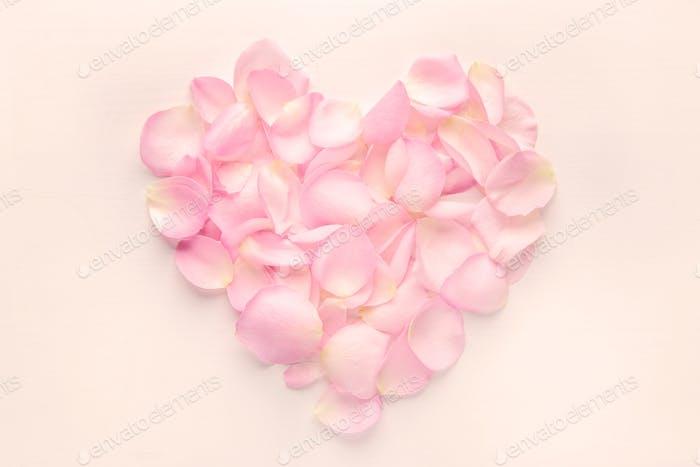 Heart of rose flower petals