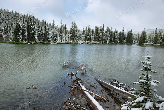 Devils lake in a snowy day on June