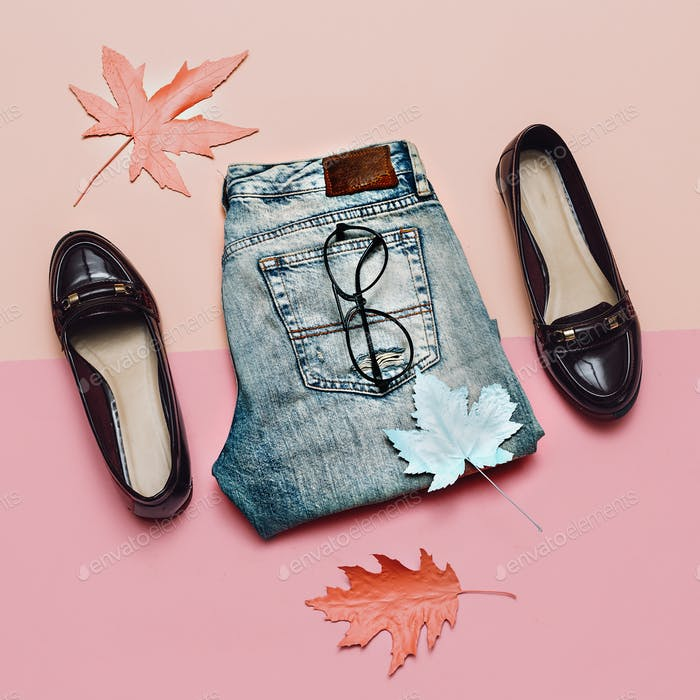 Stylish Outfit Spring. Denim and fashion shoes for Lady Vintage