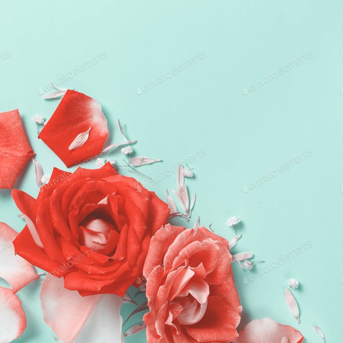 Spring composition with roses, petals, hearts and gift box