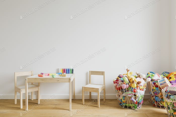 Child room with toys and small furniture