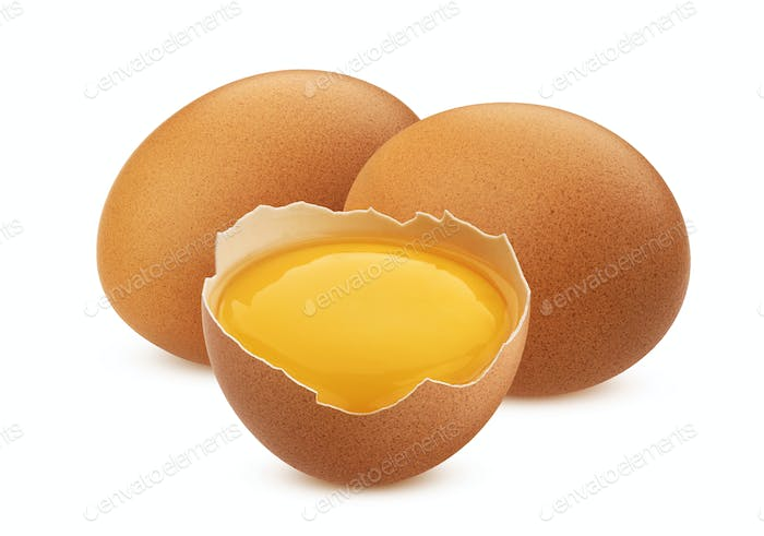 Chicken eggs isolated on white background with clipping path
