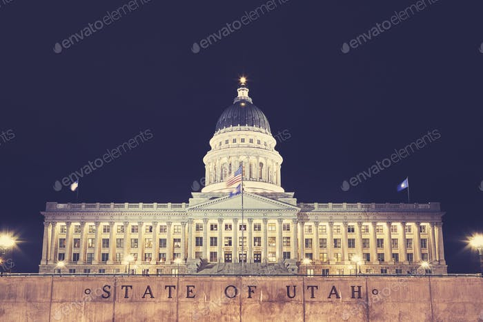 Utah State Capitol building in Salt Lake City at night, USA.