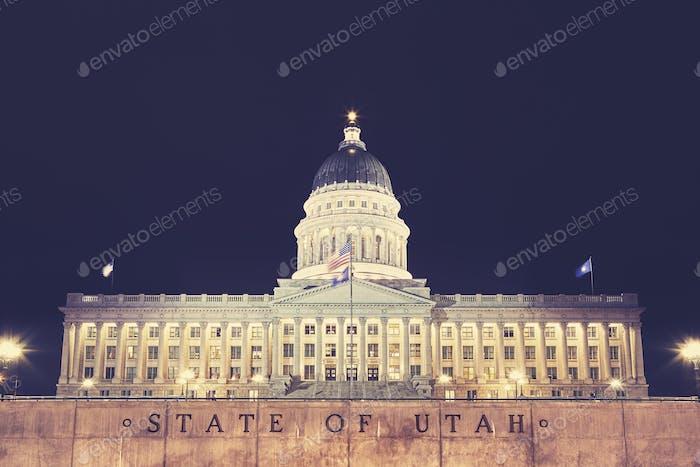 Utah State Capitol building in Salt Lake City at night, USA.