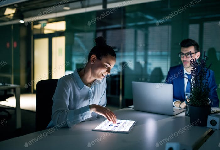 Two businesspeople with computer ssitting in an office at desk, working.