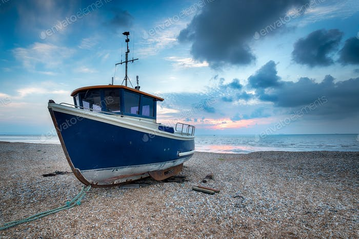Blue BBoat on a Shingle Beach