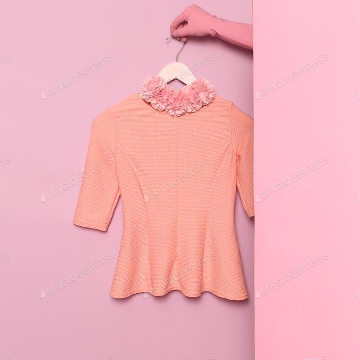 Stylish clothes. Minimal fashion. Romantic summer blouse Lady.