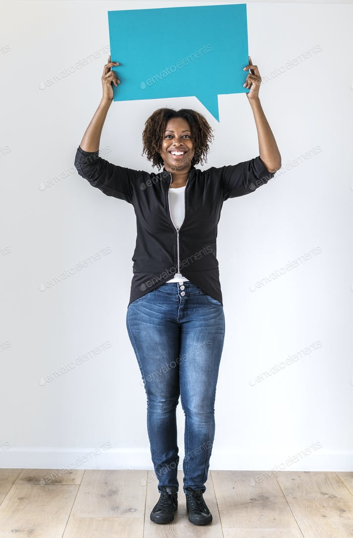 Black woman holding speech bubble icon