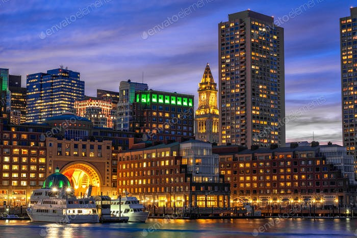 Boston skyline from Fan Pier at the fantastic twilight time