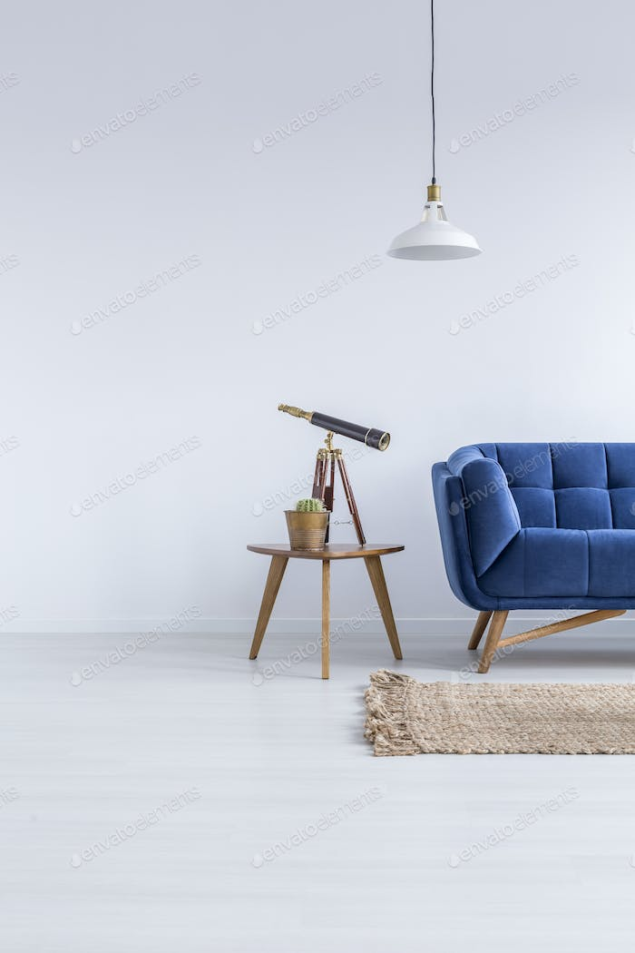 White flat with blue sofa
