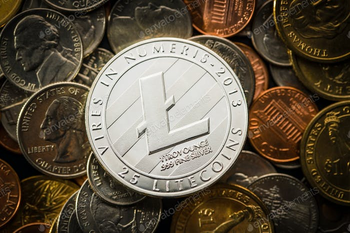 Litecoins. Digital cryptocurrency.