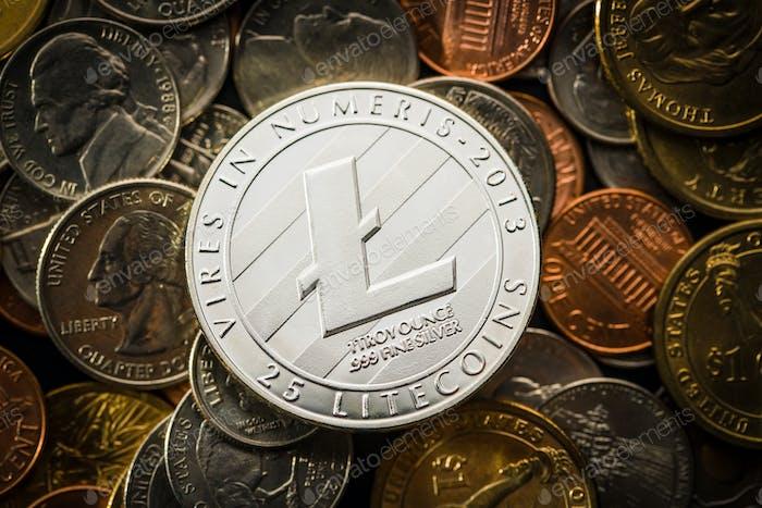 Litecoins. Digital cryptocurrency.