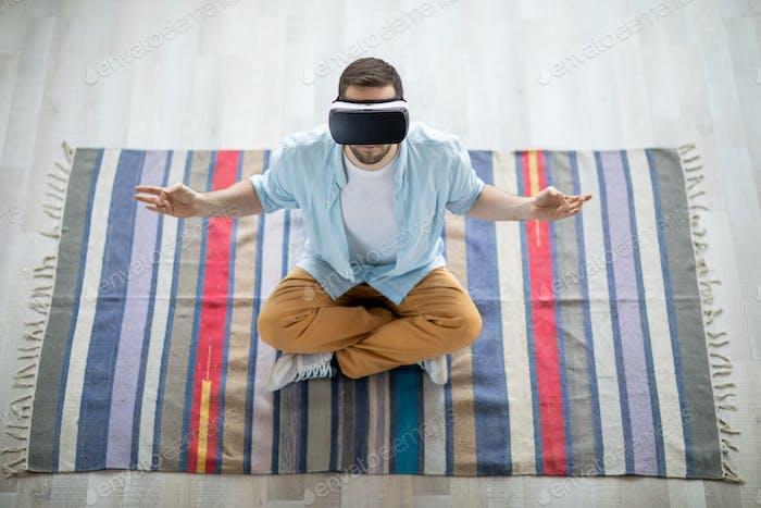 Meditating on rug