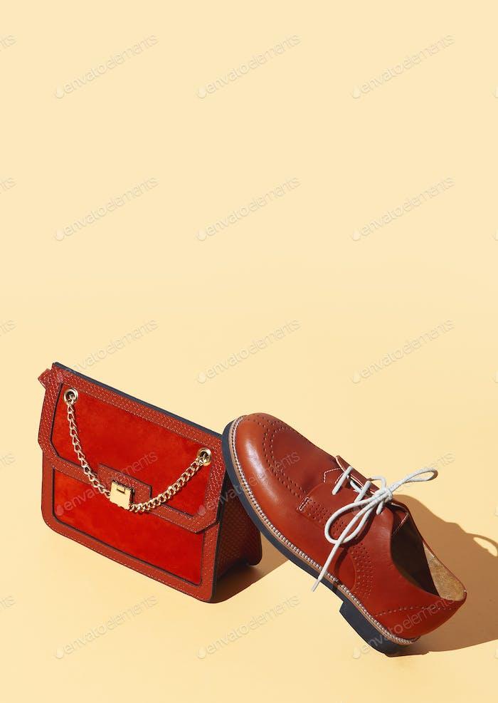 Stylish vintage  bag and shoes on beige background. Minimal isometric design. Sale and shopping